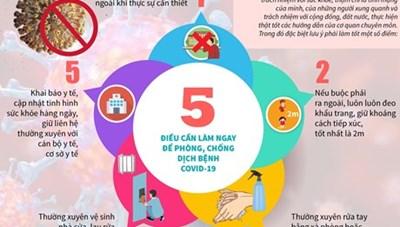 [Infographics] 5 điều cần làm ngay để phòng, chống dịch bệnh COVID-19