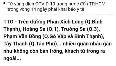 Quận Bình Thạnh phản hồi thông tin về việc quán nhậu đông đúc bất chấp dịch Covid-19