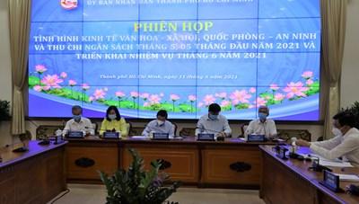 Hình ảnh cuộc họp về tình hình kinh tế - xã hội TPHCM tháng 5/2021