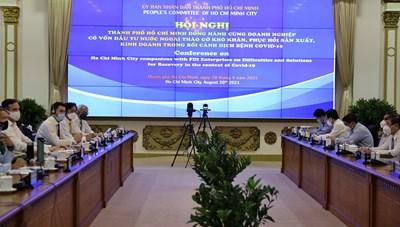 Hình ảnh Hội nghị trực tuyến Gặp gỡ giữa lãnh đạo TPHCM và DN có vốn đầu tư nước ngoài