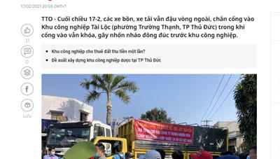 TP Thủ Đức phản hồi báo Tuổi Trẻ về việc nhốn nháo tại Khu công nghiệp Tài Lộc