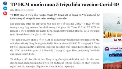 Sở Y tế TPHCM phản hồi thông tin báo chí về việc mua 5 triệu liều vắc xin Covid – 19