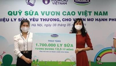 Trao tặng 1,7 triệu ly sữa hỗ trợ trẻ em khó khăn giữa dịch covid-19