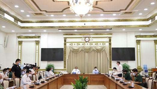 Hình ảnh cuộc họp Ban Chỉ đạo Thành phố về phòng chống dịch Covid-19 ngày 14/6/2021