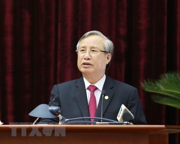Ông Trần Quốc Vượng, Uỷ viên Bộ Chính trị, Thường trực Ban Bí thư phát biểu chỉ đạo hội nghị. (Ảnh: Phương Hoa/TTXVN)