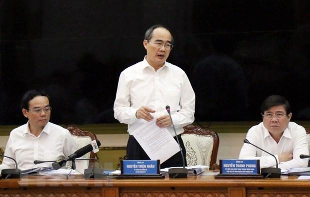 Bí thư Thành ủy TP. Hồ Chí Minh Nguyễn Thiện Nhân phát biểu chỉ đạo. (Ảnh: Tiến Lực/TTXVN)