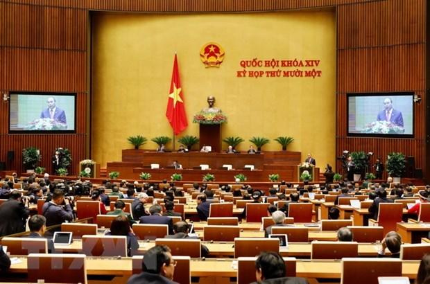Thủ tướng Nguyễn Xuân Phúc trình bày báo cáo tổng kết của Chính phủ nhiệm kỳ 2016-2021. (Ảnh: Dương Giang/TTXVN)