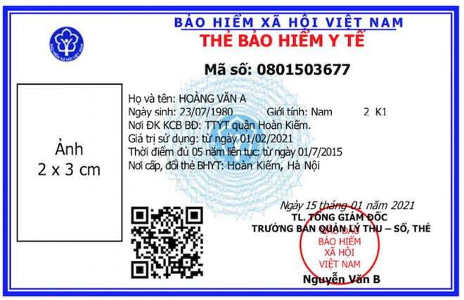 Mặt trước mẫu thẻ BHYT mới. ẢNH: BHXH VIỆT NAM