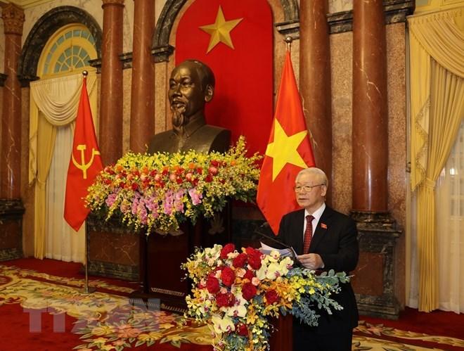 Tổng Bí thư Nguyễn Phú Trọng phát biểu tại Lễ bàn giao.(Ảnh: Trí Dũng/TTXVN)