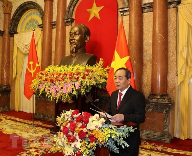 Chủ nhiệm Văn phòng Chủ tịch nước Lê Khánh Hải phát biểu tại Lễ bàn giao.(Ảnh: Trí Dũng/TTXVN)