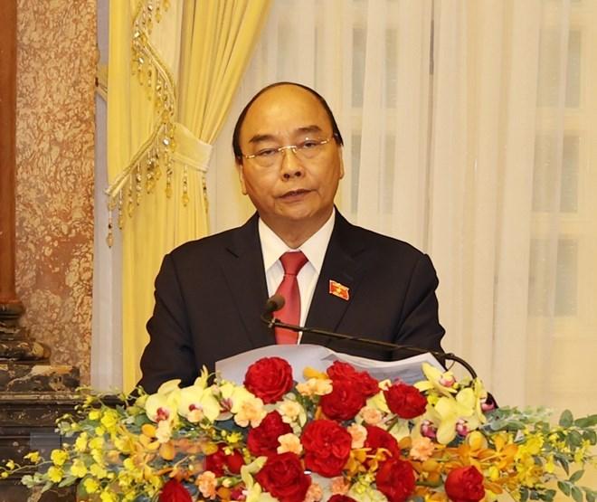 Chủ tịch nước Nguyễn Xuân Phúc phát biểu tại Lễ bàn giao. (Ảnh: Trí Dũng/TTXVN)