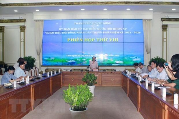 Quang cảnh Phiên họp VIII của Ủy ban Bầu cử Thành phố Hồ Chí Minh. (Ảnh: Thanh Vũ/TTXVN)