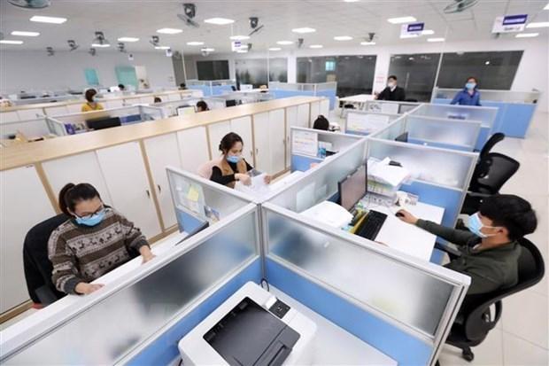 Bất động sản cho thuê văn phòng gặp khó do dịch COVID-19. (Ảnh: Anh Tuấn/TTXVN)