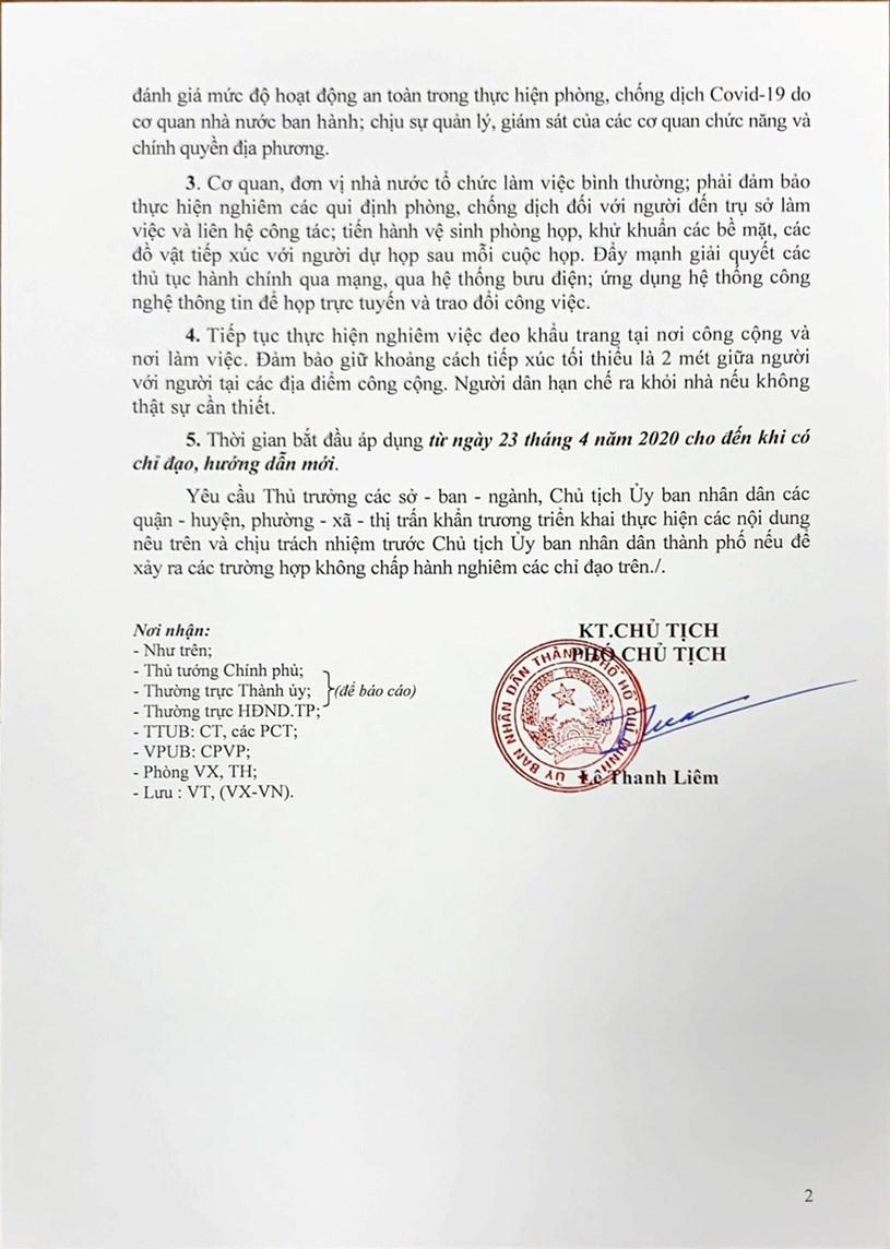 Văn bản số 1490 của UBND Thành phố về tiếp tục thực hiện công tác phòngchống dịch Covid-19 trên địa bàn TP. Hồ Chí Minh