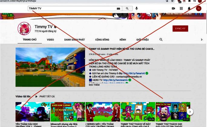 Kênh Timmy TV đăng nhiều nội dung độc hại đối với trẻ em