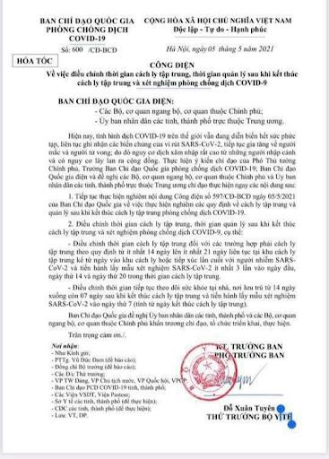 Nội dung Công điệnsố 600/CĐ-BCĐ ngày 05/5/2021 của Ban chỉ đạo Quốc gia phòng chống dịch Covid-19