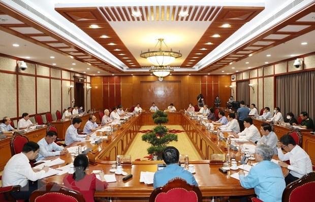Toàn cảnh Tổng Bí thư Nguyễn Phú Trọng phát biểu kết luận cuộc họp. (Ảnh: Trí Dũng/TTXVN)