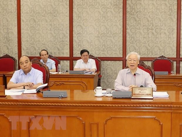 Tổng Bí thư Nguyễn Phú Trọng phát biểu kết luận cuộc họp. (Ảnh: Trí Dũng/TTXVN)
