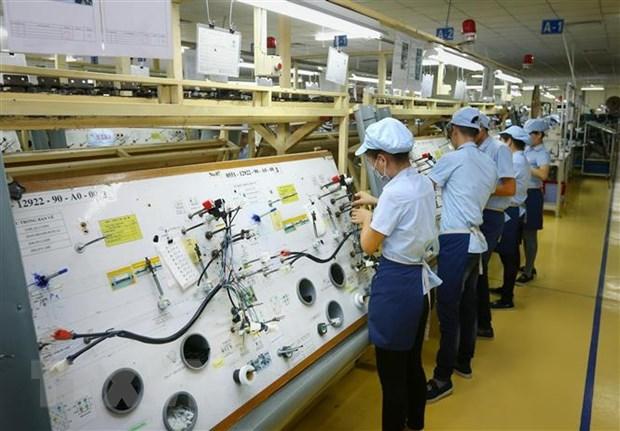 Sản xuất linh kiện điện tử tại Công ty TNHH Điện-Điện tử Mê Trần Vĩnh Phúc. (Ảnh: Danh Lam/TTXVN)