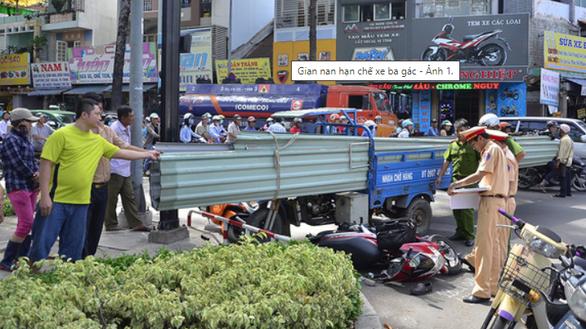 Xe ba bánh chở hàng cồng kềnh gây tai nạn trên đường Nguyễn Tri Phương, quận 10