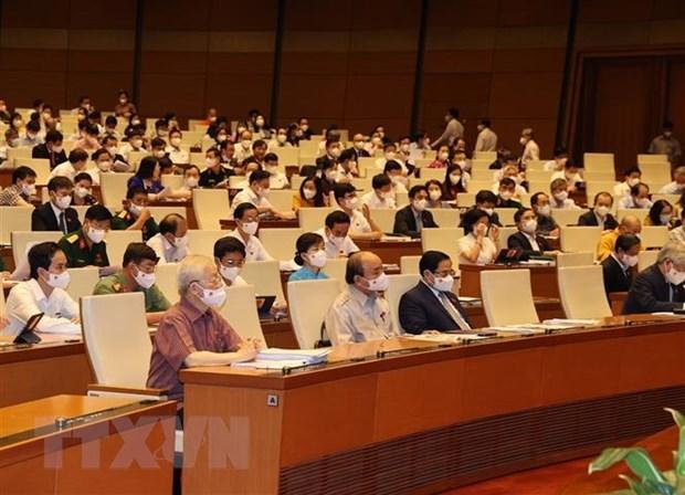 Tổng Bí thư Nguyễn Phú Trọng cùng các lãnh đạo Đảng và Nhà nước dự phiên họp sáng 22/7. (Ảnh: Trí Dũng/TTXVN)