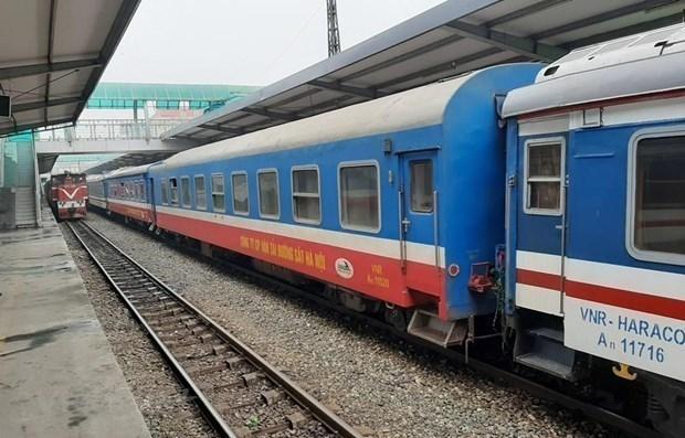 Đoàn tàu của Tổng công ty Đường sắt Việt Nam tại một nhà ga. (Ảnh: Minh Sơn/Vietnam+)