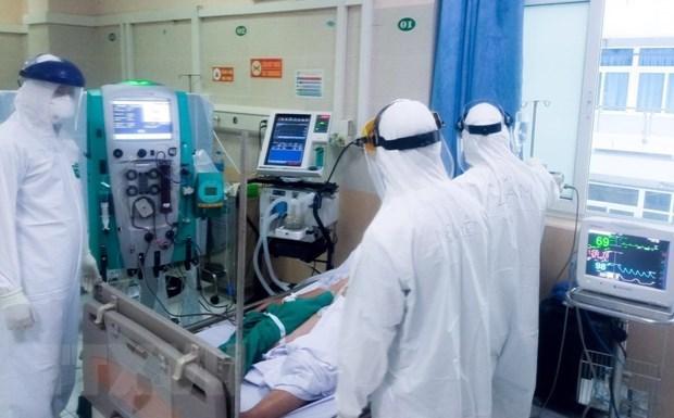 Khu điều trị bệnh nhân COVID-19 tại bệnh viện đa khoa Đức Giang. Ảnh: TTXVN phát