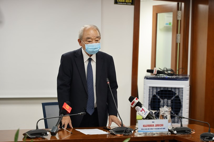 Ông Kajiwara Junichi, Tổng Giám đốc Công ty ACECOOK Việt Nam phát biểu tại họp báo