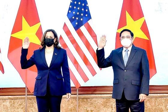 Thủ tướng Phạm Minh Chính tiếp Phó Tổng thống Hoa Kỳ Kamala Harris,ngày 25-8, trong chuyến thăm Việt Nam