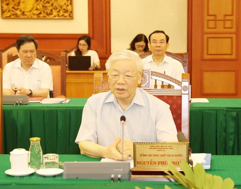 Tổng Bí thư, Chủ tịch nước Nguyễn Phú Trọng phát biểu chỉ đạo tại buổi làm việc với Ban Thường vụ Thành ủy Thành phố Hồ Chí Minh.(Ảnh: Trí Dũng/TTXVN)