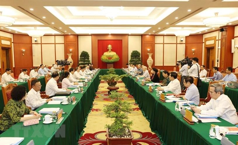 Toàn cảnh buổi làm việc của tập thể Bộ Chính trị với Ban Thường vụ Thành ủy Thành phố Hồ Chí Minh.(Ảnh: Trí Dũng/TTXVN)