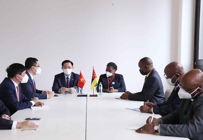 Chủ tịch Quốc hội Vương Đình Huệ hội kiến Chủ tịch Quốc hội Mozambique.(Ảnh: Doãn Tấn/TTXVN)
