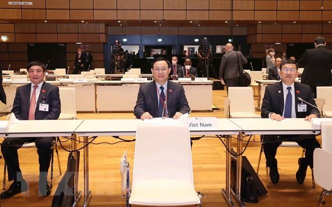 Chủ tịch Quốc hội Vương Đình Huệ dự Lễ khai mạc Hội nghị các Chủ tịch Quốc hội thế giới lần thứ 5.(Ảnh: Doãn Tấn/TTXVN)