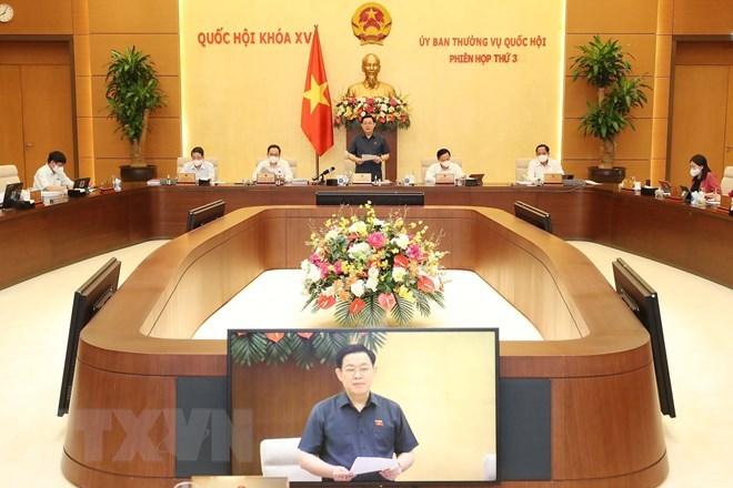 Quang cảnh khai mạc Phiên họp thứ 3 Ủy ban Thường vụ Quốc hội khóa XV. (Ảnh: Trọng Đức/TTXVN)