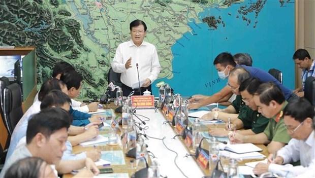 Phó Thủ tướng Trịnh Đình Dũng, Trưởng ban chỉ đạo Trung ương về phòng, chống thiên tai phát biểu chỉ đạo. (Ảnh: Vũ Sinh/TTXVN)