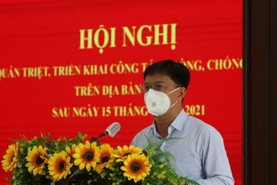 Bí thư Quận ủy quận 5 Nguyễn Mạnh Cường phát biểu tại hội nghị