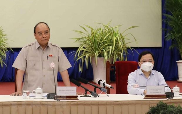 Chủ tịch nước Nguyễn Xuân Phúc phát biểu tại buổi gặp mặt. (Ảnh: Thống Nhất/TTXVN)