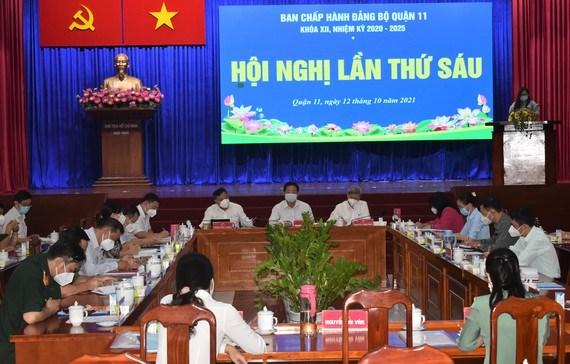 Quang cảnh hội nghị lần thứ 6 Ban Chấp hành Đảng bộ quận 11 khóa XII, nhiệm kỳ 2020 - 2025.