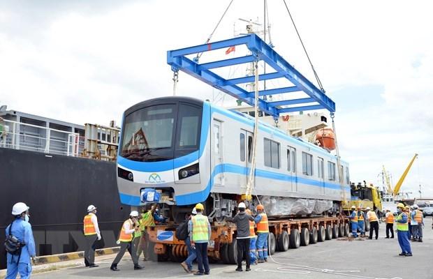 Đoàn tàu đầu tiên của tuyến metro Bến Thành-Suối Tiên ở Thành phố Hồ Chí Minh. (Ảnh: TTXVN)