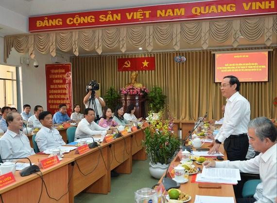 Bí thư Thành ủy TPHCM Nguyễn Văn Nên phát biểu trong buổi làm việc với huyện Củ Chi. Ảnh: VIỆT DŨNG