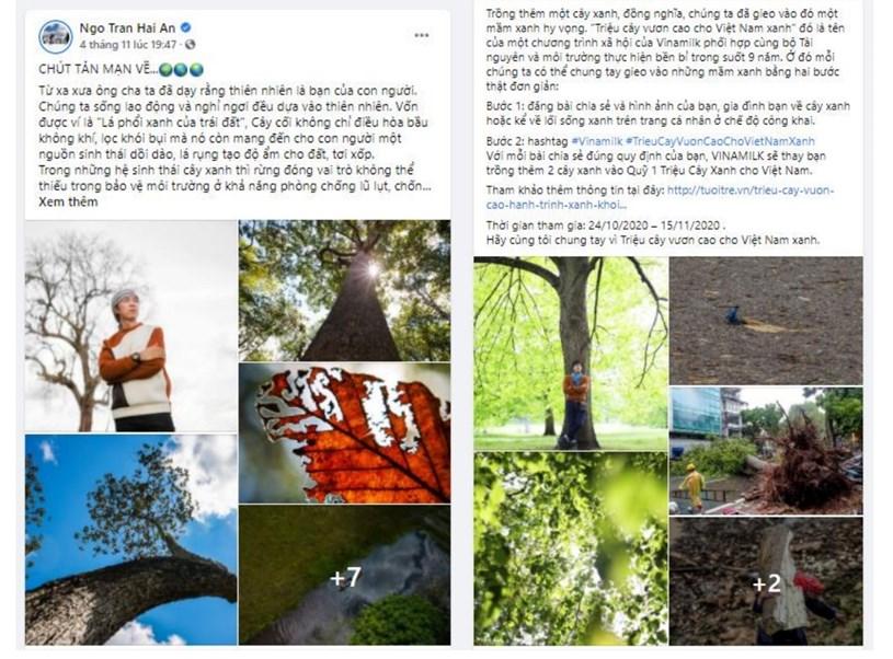 """Hình 6: Bên cạnh tham gia chiến dịch online, tập thể nhân viên Vinamilk còn tổ chức nhiều hoạt động """"offline"""" đồng hành như Ngày hội sống xanh, Đổi vỏ hộp lấy cây xanh…"""