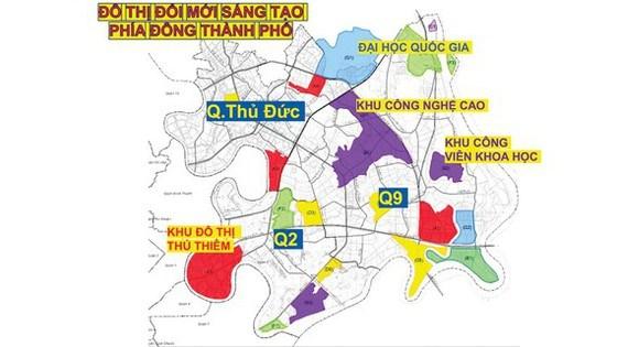 Phối cảnh gắn kết Khu Công nghệ cao TPHCM với các đơn vị để hình thành Khu đô thị sáng tạo tương tác cao phía Đông TPHCM