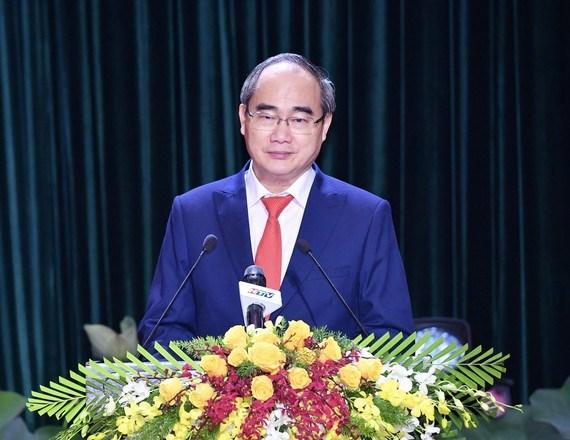 Đồng chí Nguyễn Thiện Nhân phát biểu tại Lễ công bố Nghị quyết 1111/NQ-UBTVQH14. Ảnh: VIỆT DŨNG/SGGP