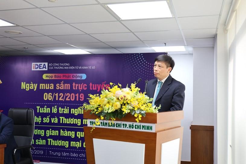 Ông Đặng Hoàng Hải, Cục trưởng Cục Thương mại Điện tử và Kinh tế số - Bộ Công thương phát biểu tại buổi họp báo
