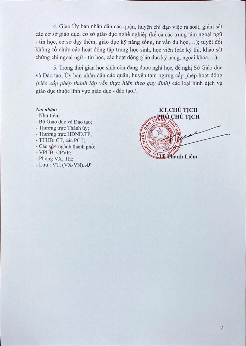 Văn bản chỉ đạo của UBND Thành phố Hồ Chí Minh