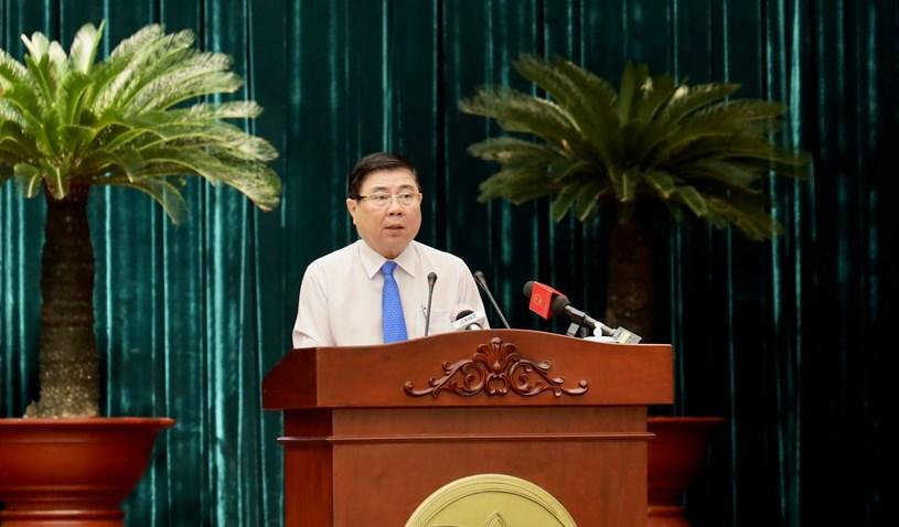 Chủ tịch UBND TP Nguyễn Thành Phong phát biểu khai mạc hội nghị. Ảnh: Huyền Mai