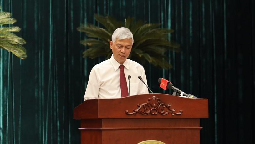 Phó chủ tịch UBND TP Võ Văn Hoan phát biểu tại hội nghị. Ảnh: Huyền Mai