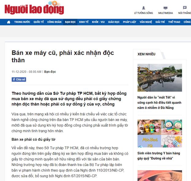 """Bài viết""""Bán xe máy cũ, phải xác nhận độc thân"""" trên báo Người Lao Động. Ảnh chụp màn hình"""