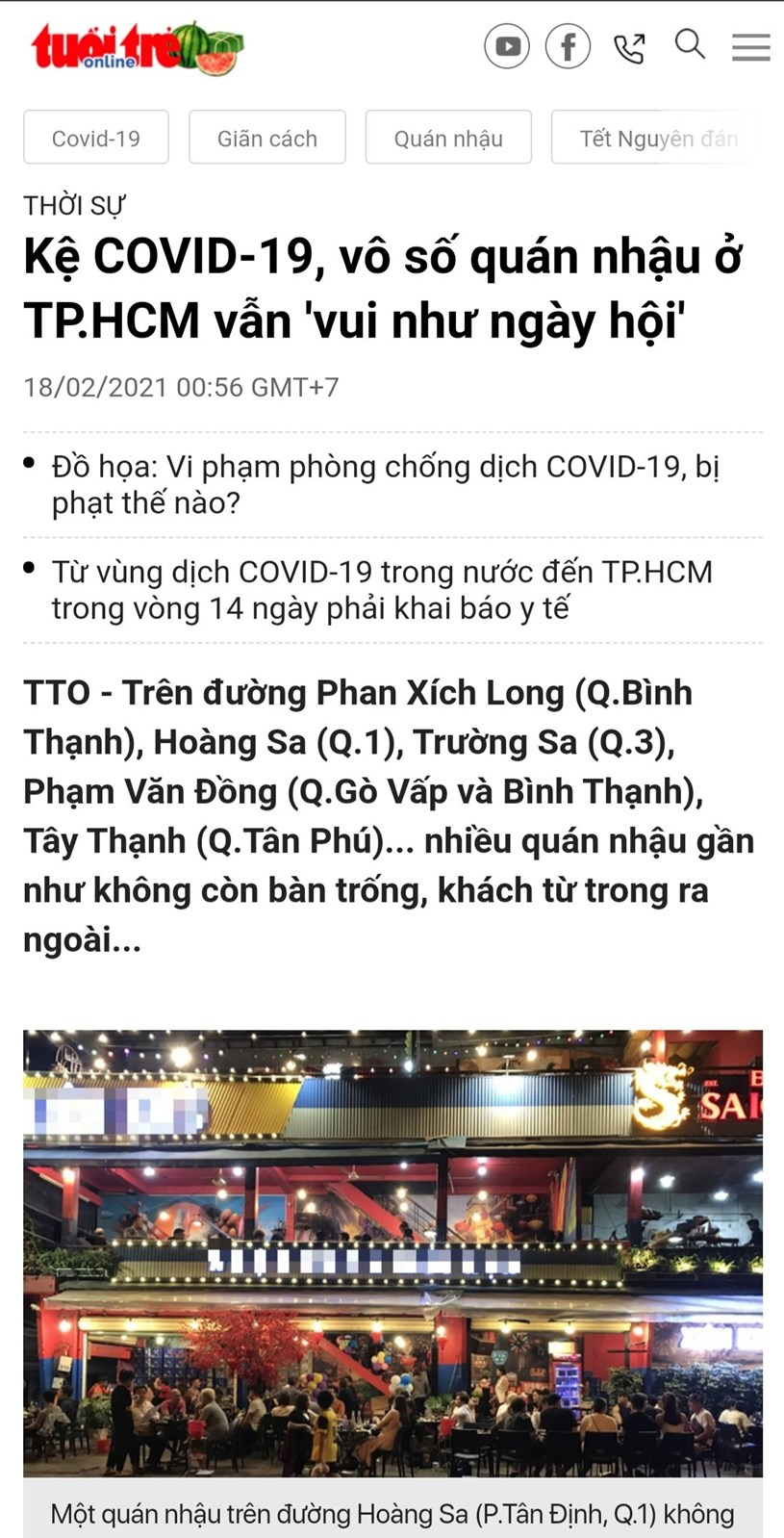"""Bài báo """"Kệ Covid-19, vô số quán nhậu ở TP.HCM vẫn vui như ngày hội """" trên Tuoitre.vn. Ảnh chụp màn hình"""