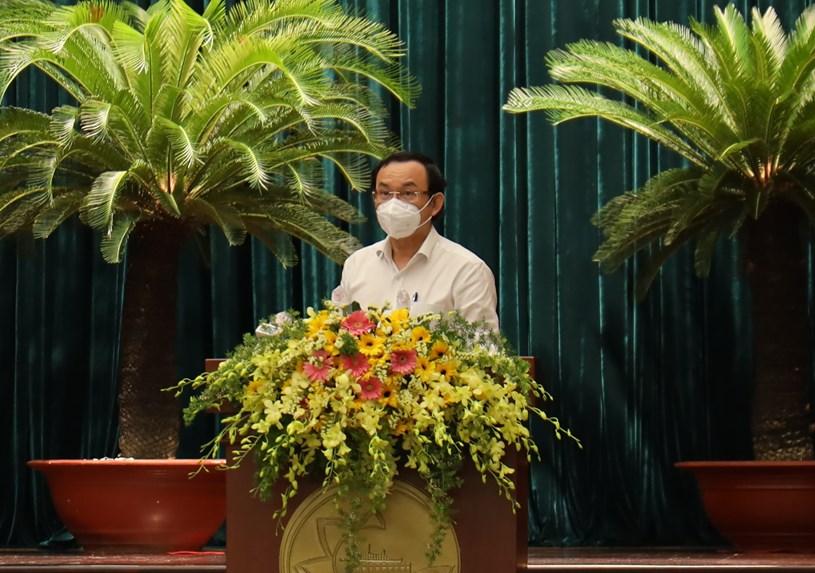 Bí thư Thành ủy TPHCM Nguyễn Văn Nên phát biểu khai mạc hội nghị. Ảnh: Huyền Mai